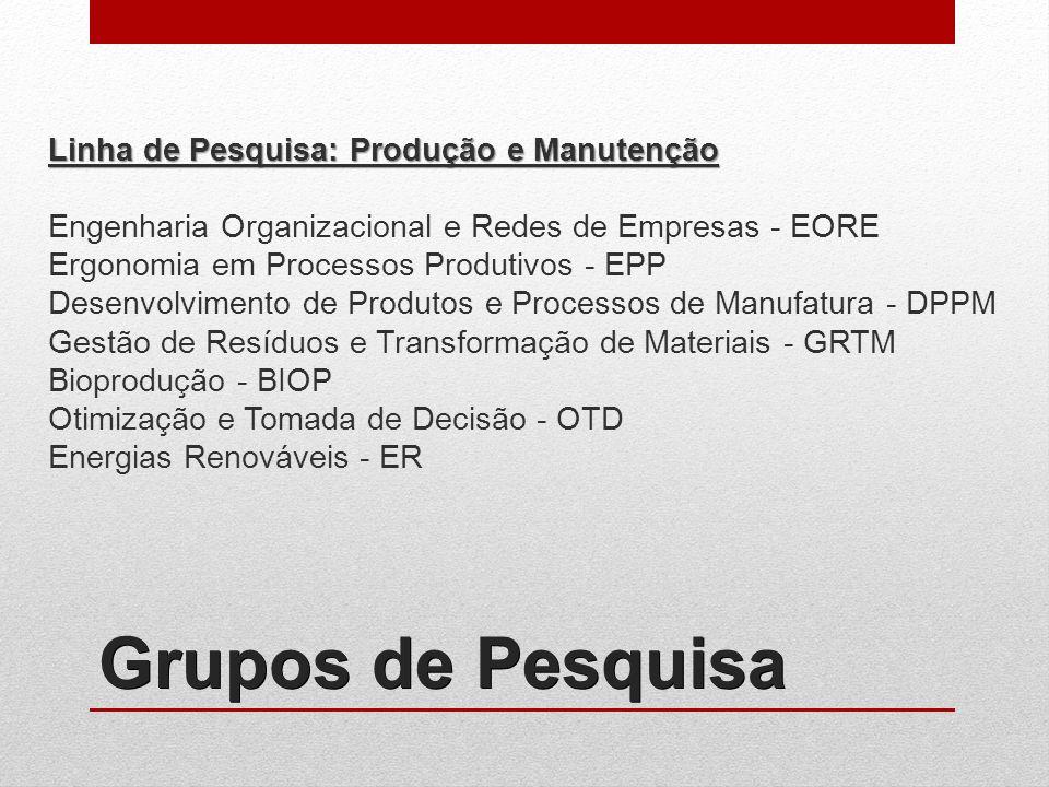 Linha de Pesquisa: Produção e Manutenção Engenharia Organizacional e Redes de Empresas - EORE Ergonomia em Processos Produtivos - EPP Desenvolvimento de Produtos e Processos de Manufatura - DPPM Gestão de Resíduos e Transformação de Materiais - GRTM Bioprodução - BIOP Otimização e Tomada de Decisão - OTD Energias Renováveis - ER