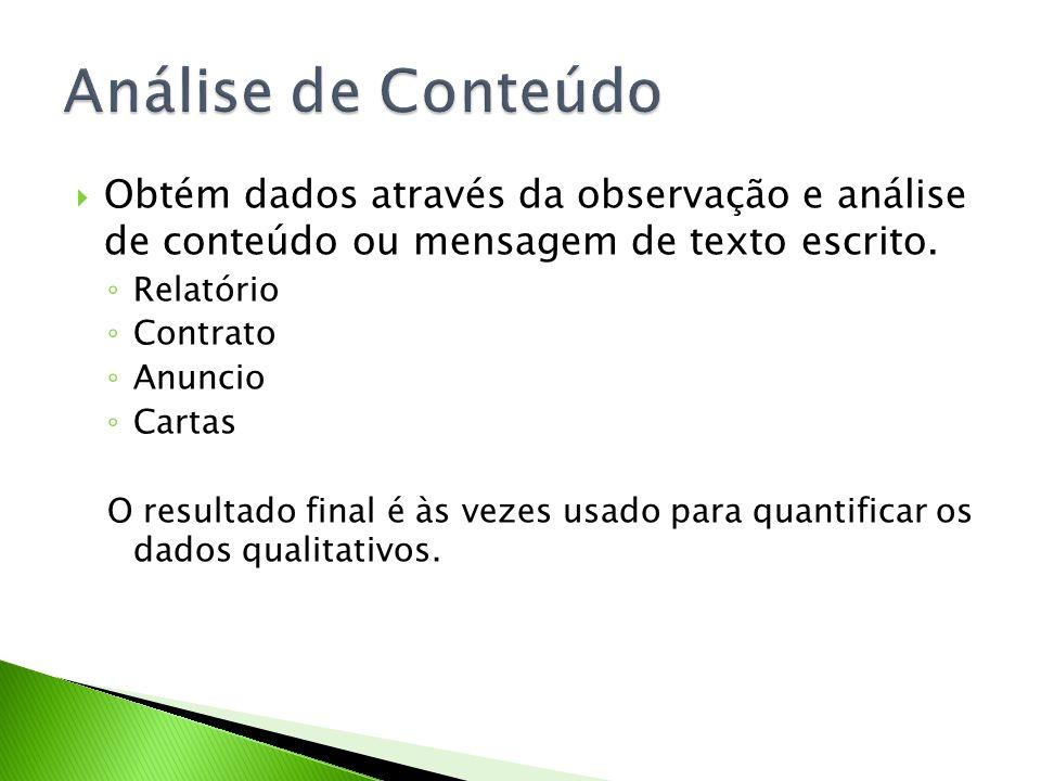Análise de Conteúdo Obtém dados através da observação e análise de conteúdo ou mensagem de texto escrito.
