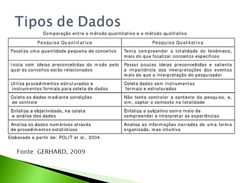 Tipos de Dados Fonte: GERHARD, 2009