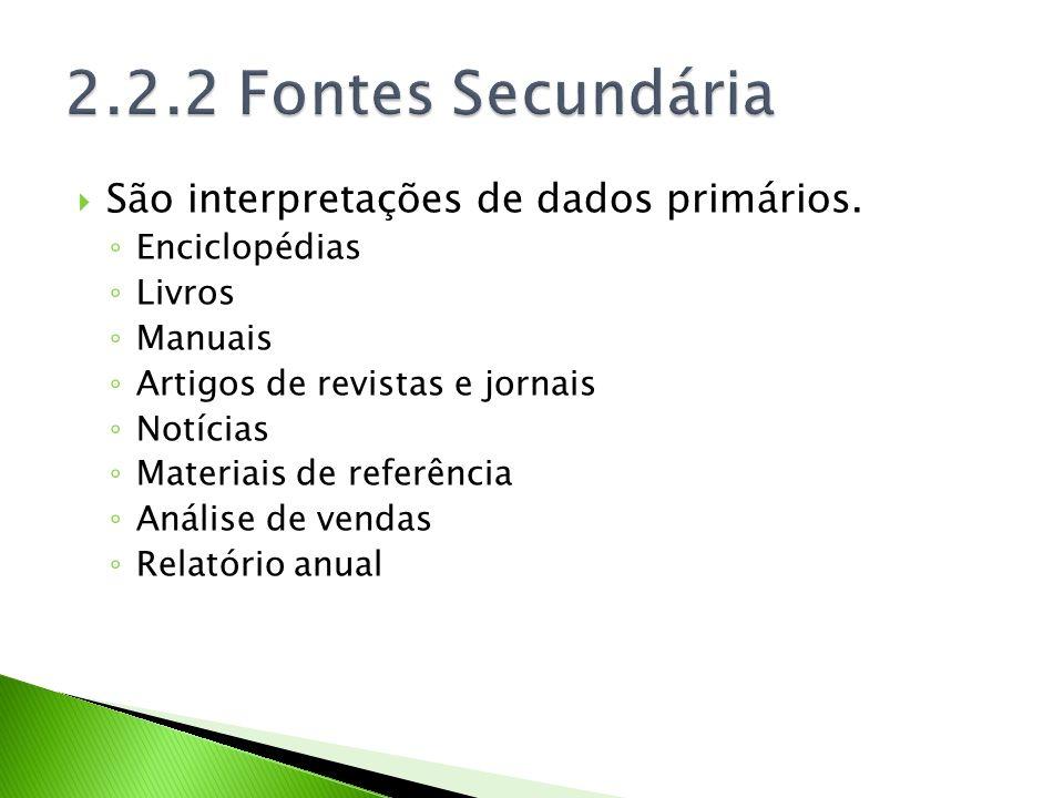 2.2.2 Fontes Secundária São interpretações de dados primários.