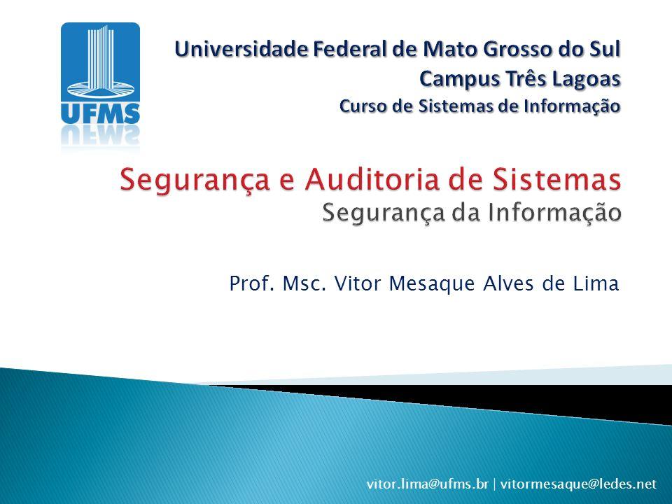 Segurança e Auditoria de Sistemas Segurança da Informação