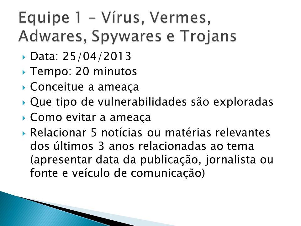 Equipe 1 – Vírus, Vermes, Adwares, Spywares e Trojans