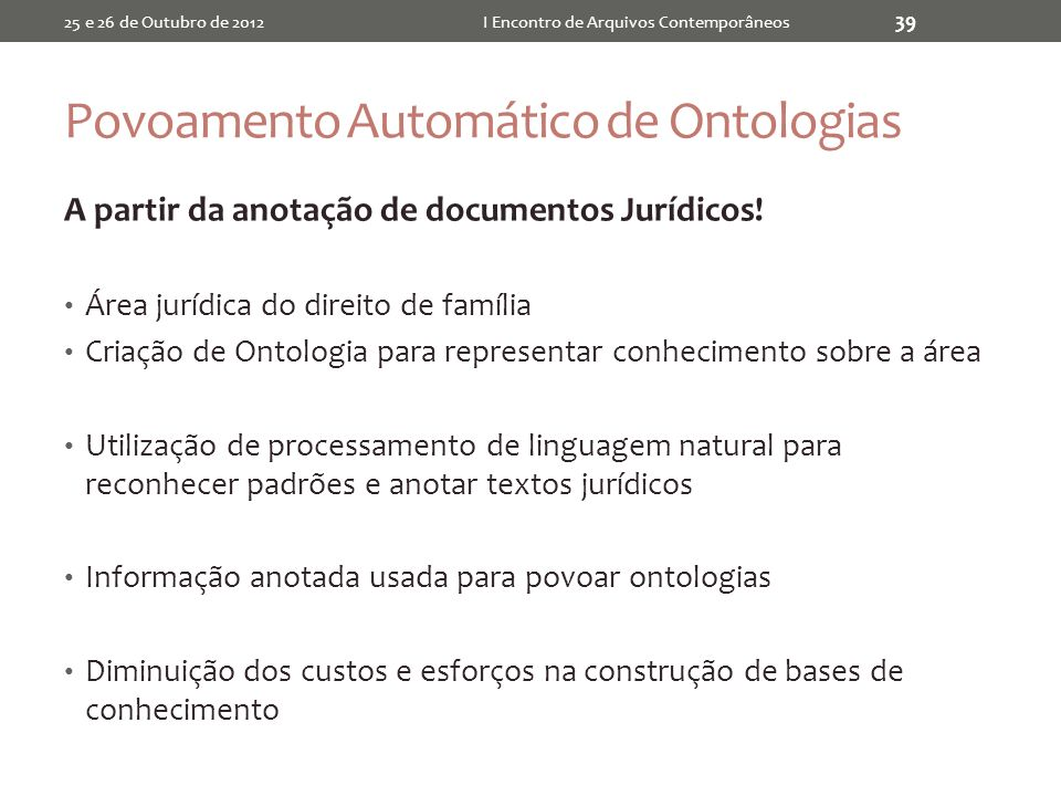Povoamento Automático de Ontologias
