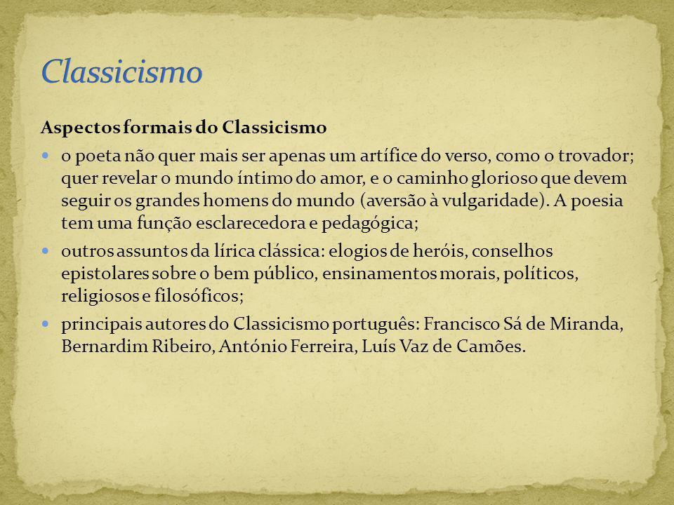 Classicismo Aspectos formais do Classicismo