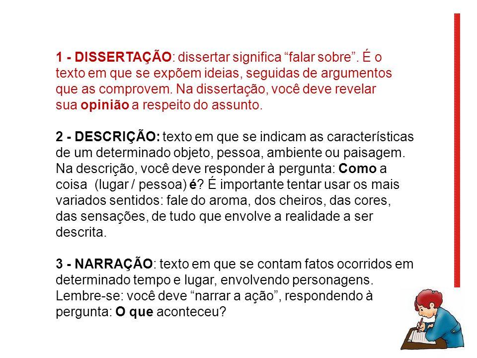 1 - DISSERTAÇÃO: dissertar significa falar sobre