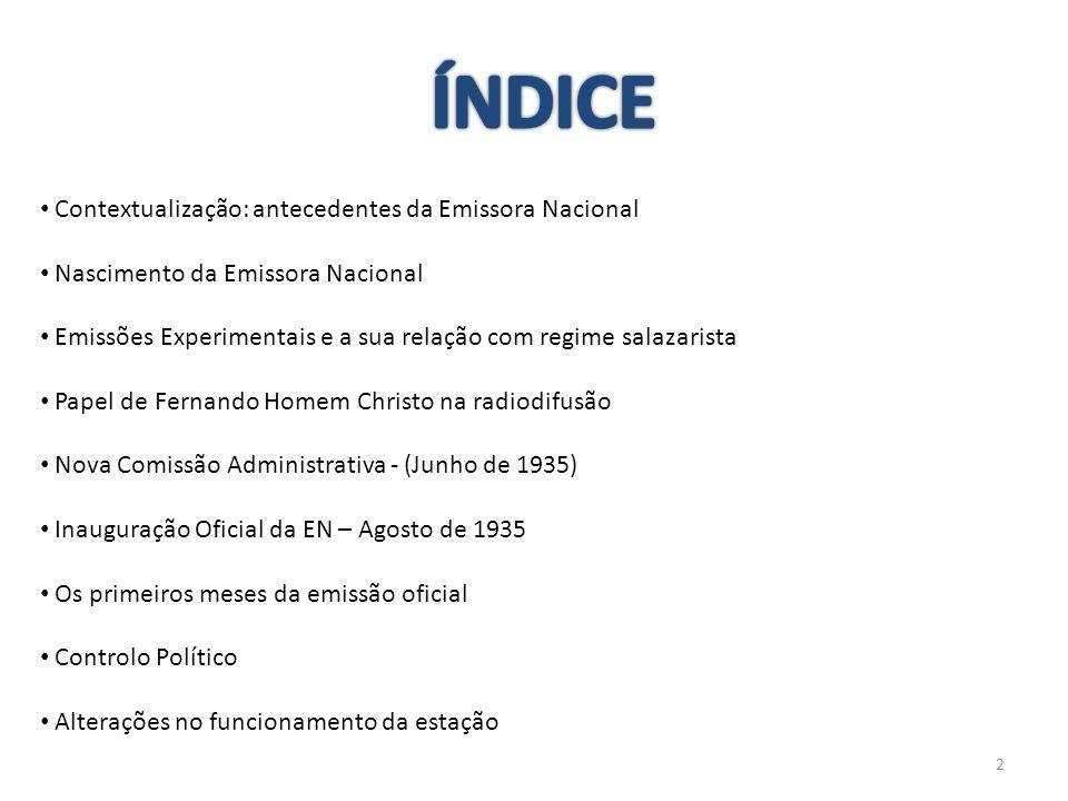 ÍNDICE Contextualização: antecedentes da Emissora Nacional