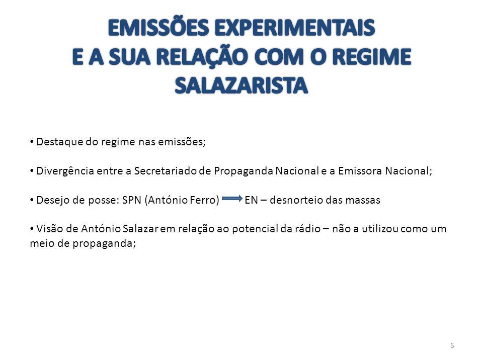 EMISSÕES EXPERIMENTAIS E A SUA RELAÇÃO COM O REGIME SALAZARISTA