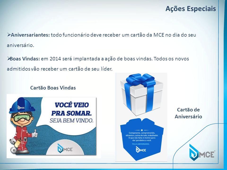 Ações Especiais Aniversariantes: todo funcionário deve receber um cartão da MCE no dia do seu aniversário.