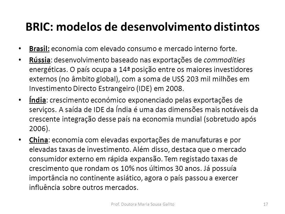 BRIC: modelos de desenvolvimento distintos