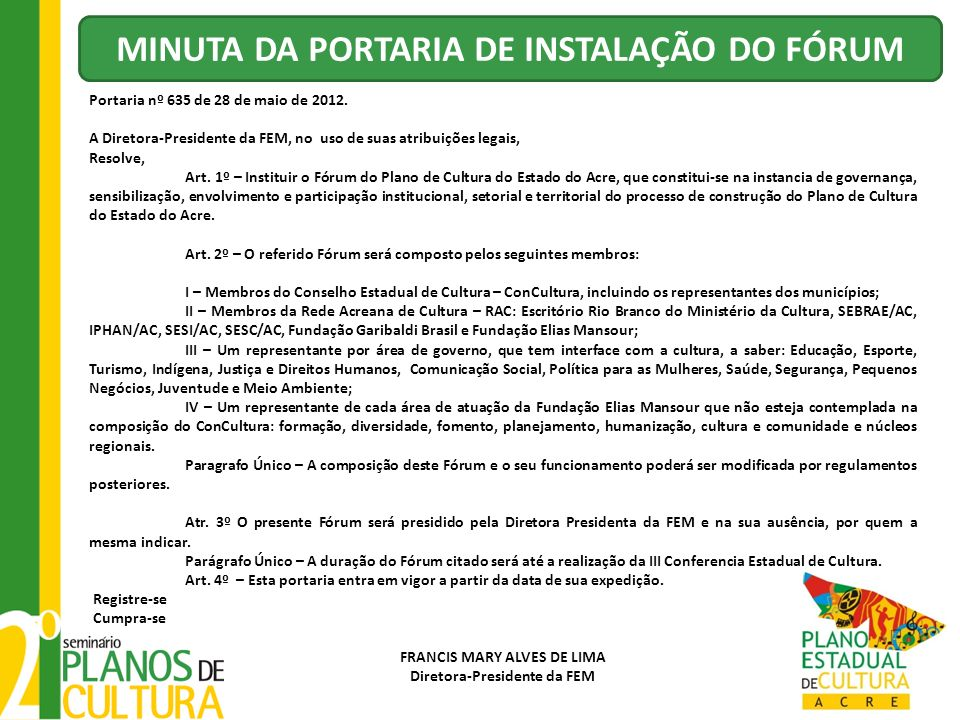 MINUTA DA PORTARIA DE INSTALAÇÃO DO FÓRUM