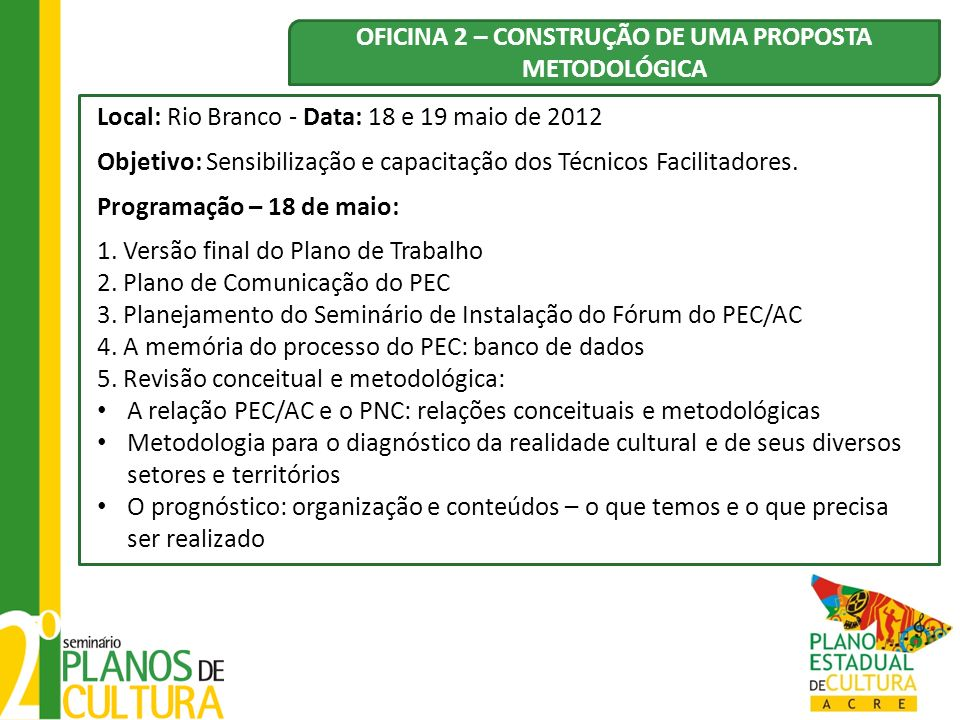 OFICINA 2 – CONSTRUÇÃO DE UMA PROPOSTA METODOLÓGICA
