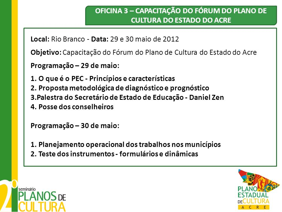 OFICINA 3 – CAPACITAÇÃO DO FÓRUM DO PLANO DE CULTURA DO ESTADO DO ACRE