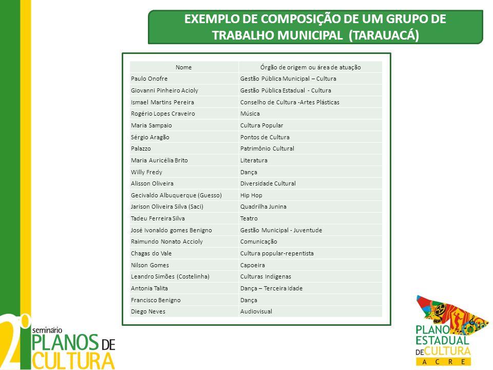 EXEMPLO DE COMPOSIÇÃO DE UM GRUPO DE TRABALHO MUNICIPAL (TARAUACÁ)
