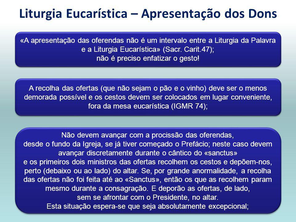 Liturgia Eucarística – Apresentação dos Dons