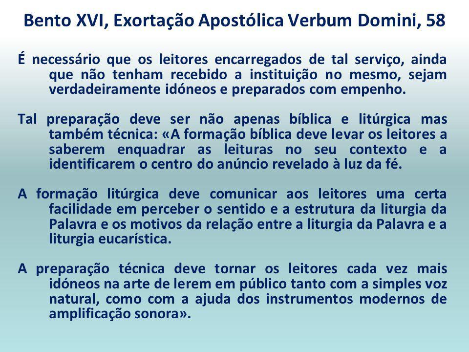 Bento XVI, Exortação Apostólica Verbum Domini, 58