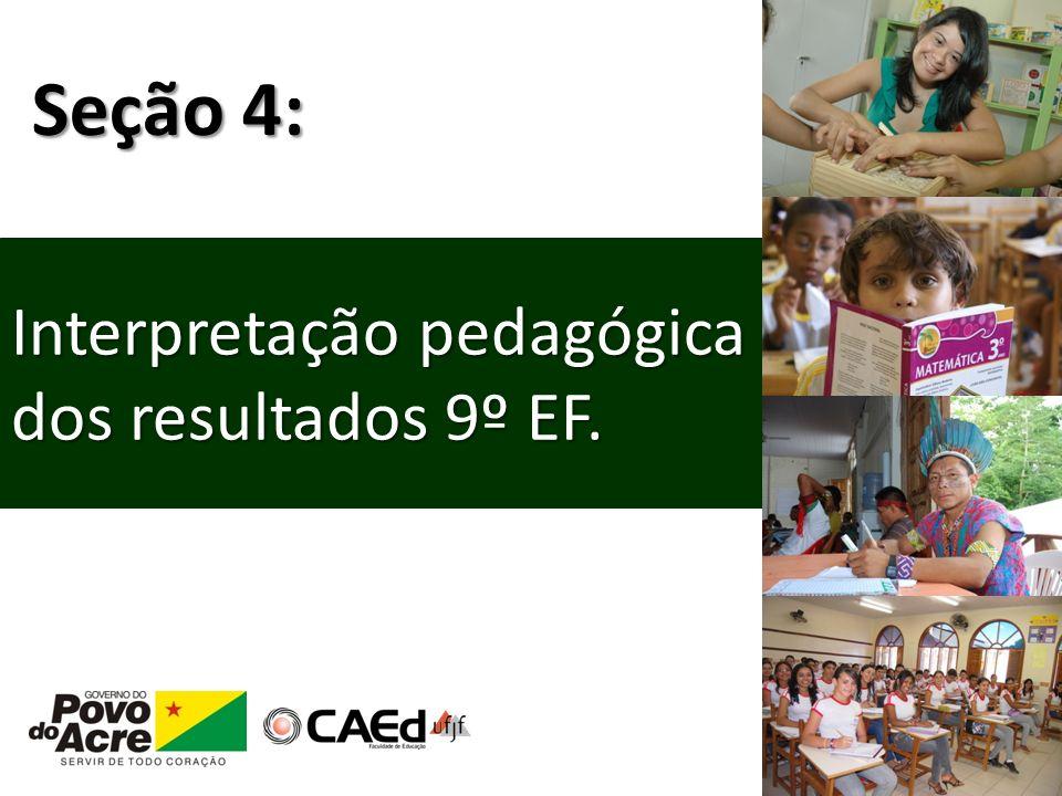 Seção 4: Interpretação pedagógica dos resultados 9º EF.