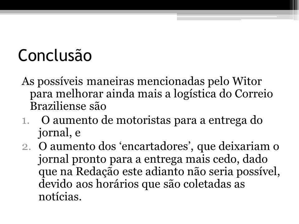 Conclusão As possíveis maneiras mencionadas pelo Witor para melhorar ainda mais a logística do Correio Braziliense são.