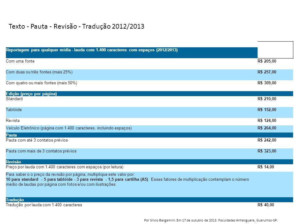 Texto - Pauta - Revisão - Tradução 2012/2013