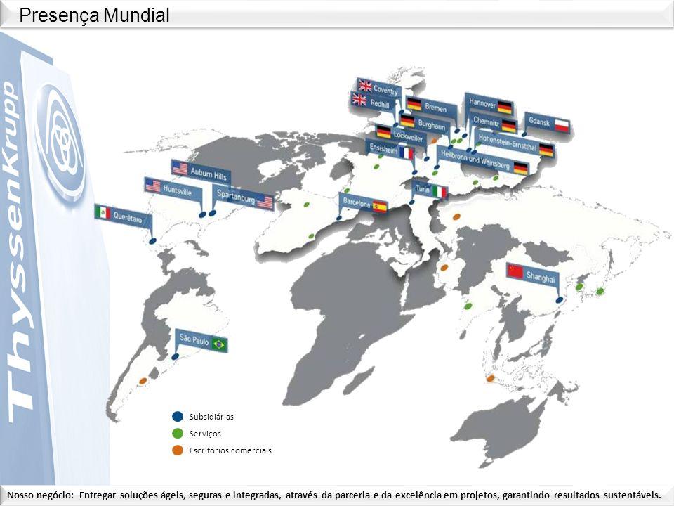 Presença Mundial Subsidiárias Serviços Escritórios comerciais