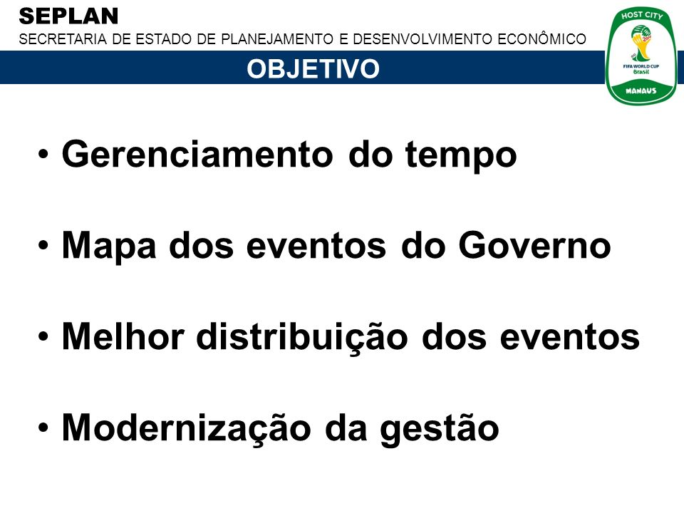 Gerenciamento do tempo Mapa dos eventos do Governo