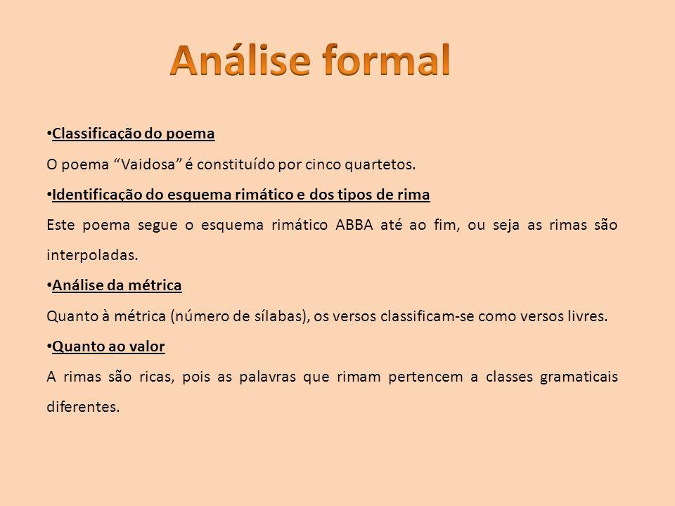 Análise formal Classificação do poema