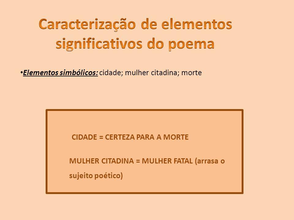 Caracterização de elementos significativos do poema