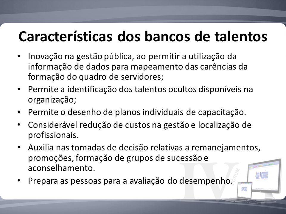 Características dos bancos de talentos