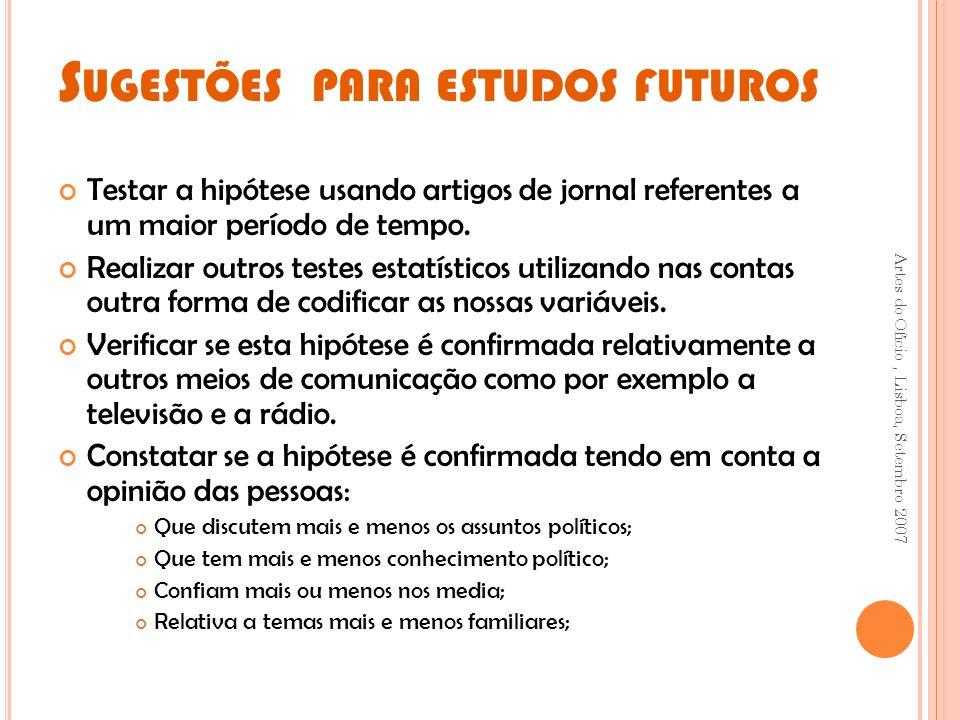 Sugestões para estudos futuros