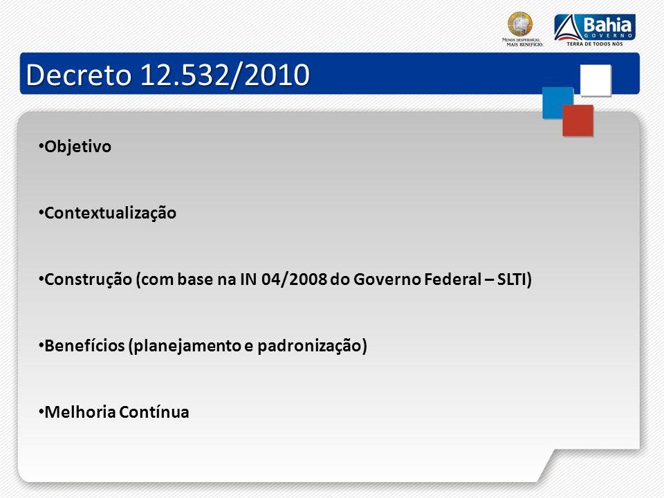 Decreto 12.532/2010 Objetivo Contextualização