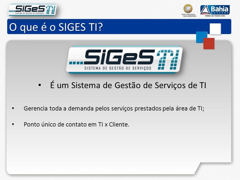 O que é o SIGES TI É um Sistema de Gestão de Serviços de TI