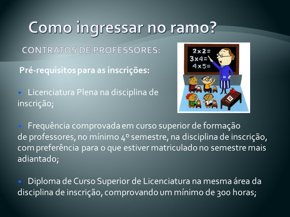Como ingressar no ramo CONTRATOS DE PROFESSORES: