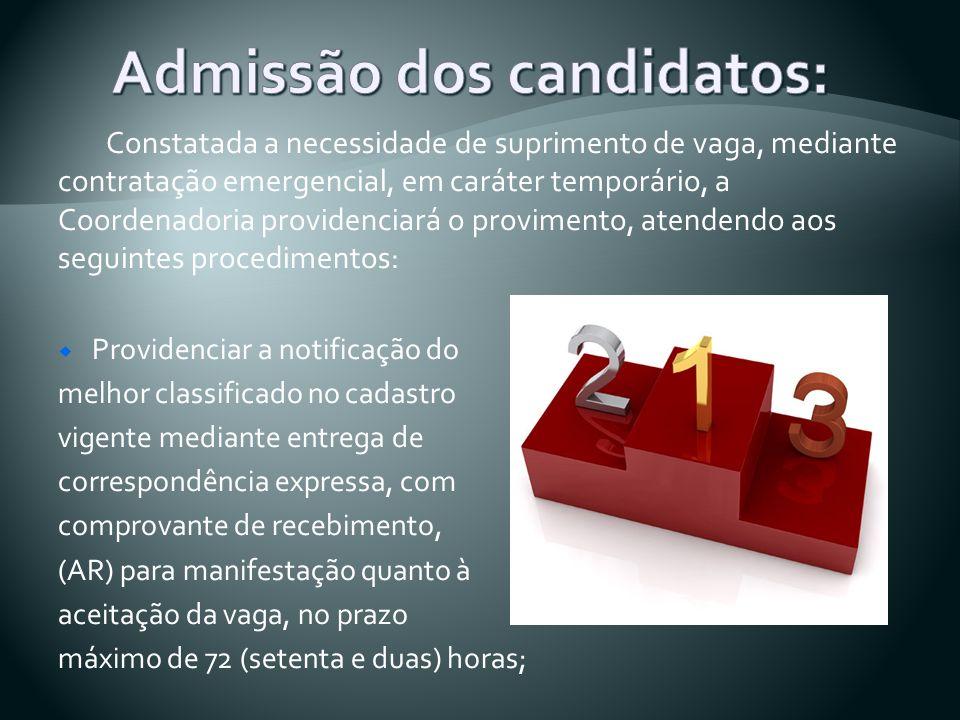 Admissão dos candidatos: