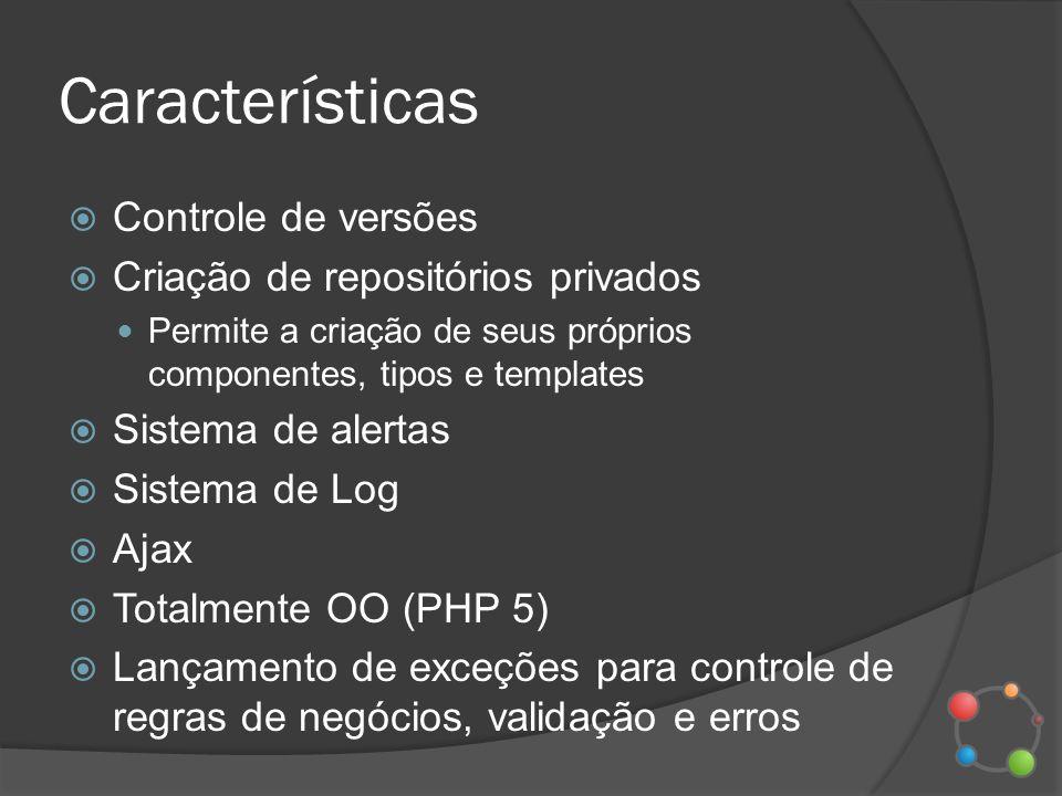 Características Controle de versões Criação de repositórios privados
