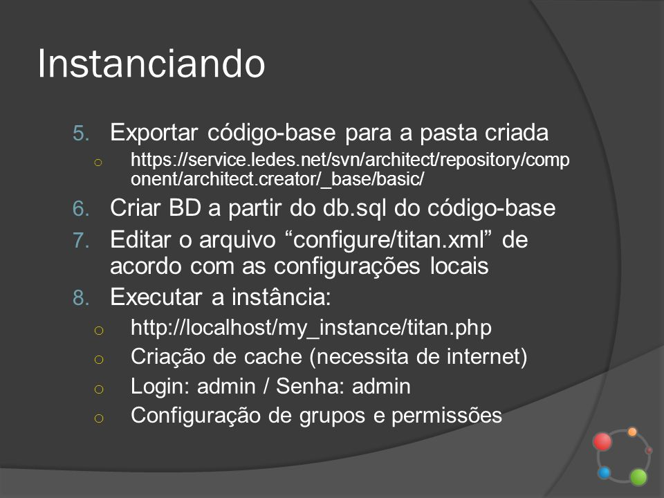Instanciando Exportar código-base para a pasta criada