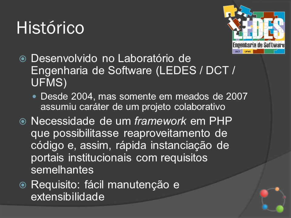 Histórico Desenvolvido no Laboratório de Engenharia de Software (LEDES / DCT / UFMS)