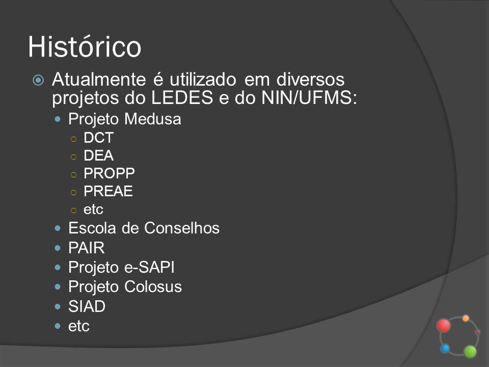 Histórico Atualmente é utilizado em diversos projetos do LEDES e do NIN/UFMS: Projeto Medusa. DCT.