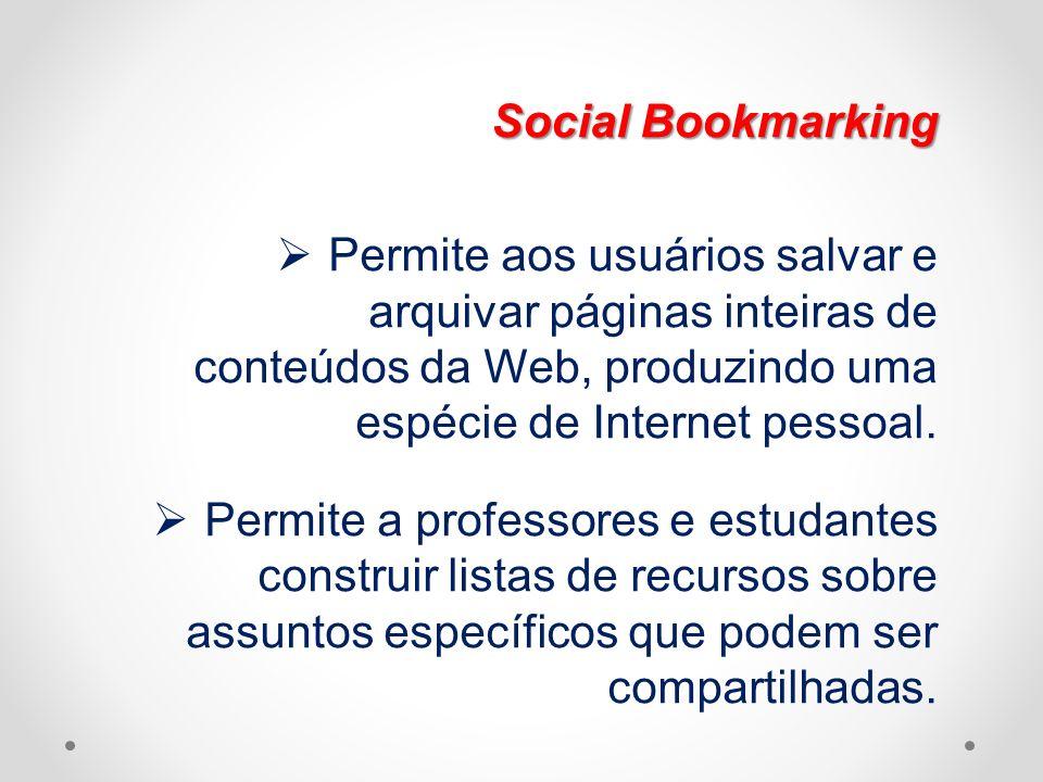Social Bookmarking Permite aos usuários salvar e arquivar páginas inteiras de conteúdos da Web, produzindo uma espécie de Internet pessoal.