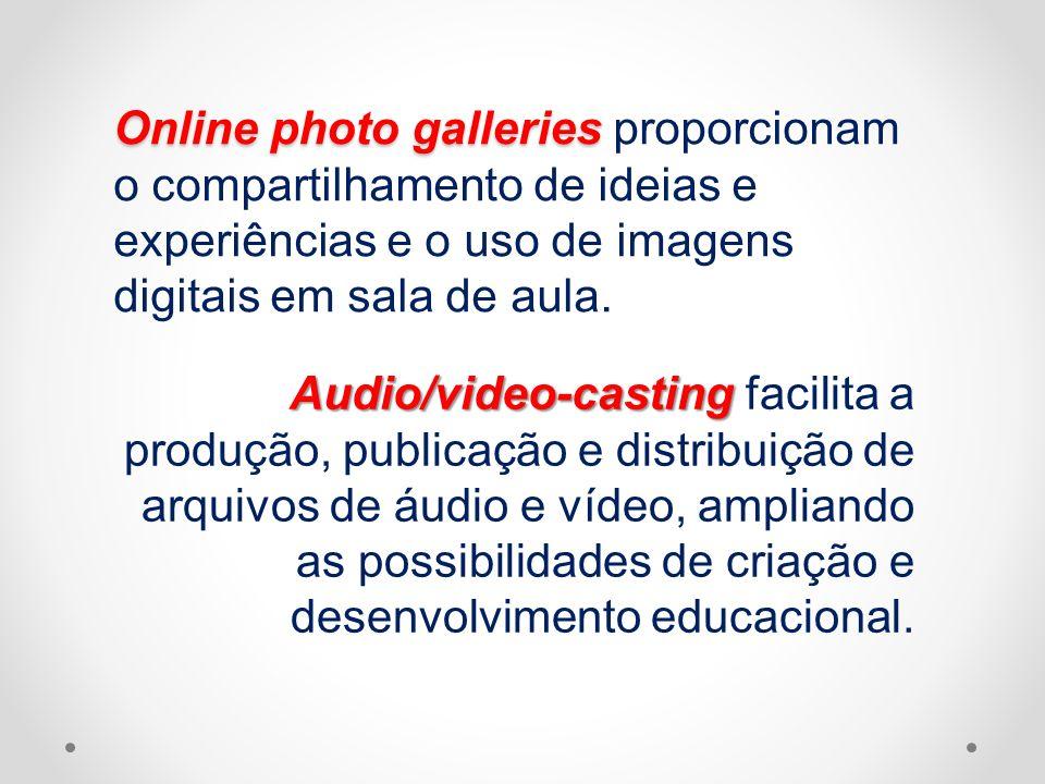 Online photo galleries proporcionam o compartilhamento de ideias e experiências e o uso de imagens digitais em sala de aula.