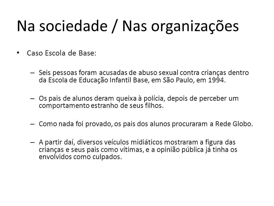 Na sociedade / Nas organizações