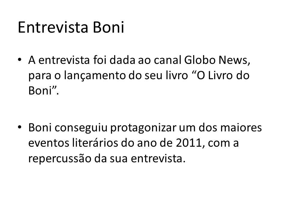 Entrevista Boni A entrevista foi dada ao canal Globo News, para o lançamento do seu livro O Livro do Boni .