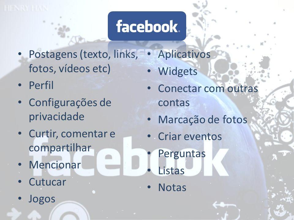 Postagens (texto, links, fotos, vídeos etc)