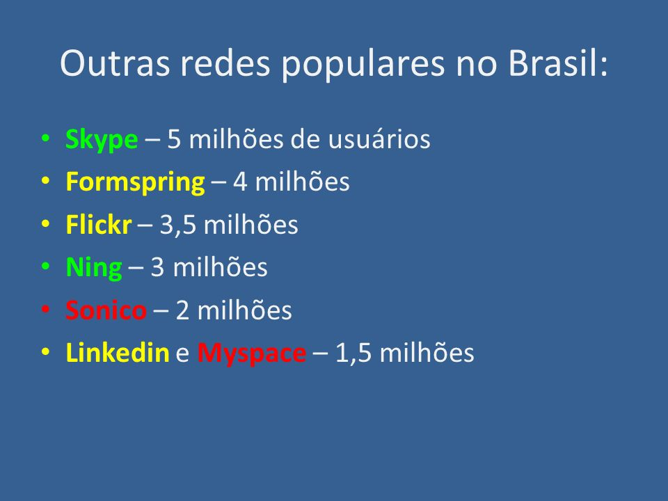 Outras redes populares no Brasil: