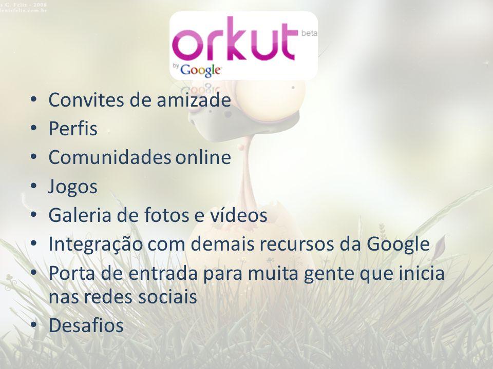 Convites de amizade Perfis. Comunidades online. Jogos. Galeria de fotos e vídeos. Integração com demais recursos da Google.