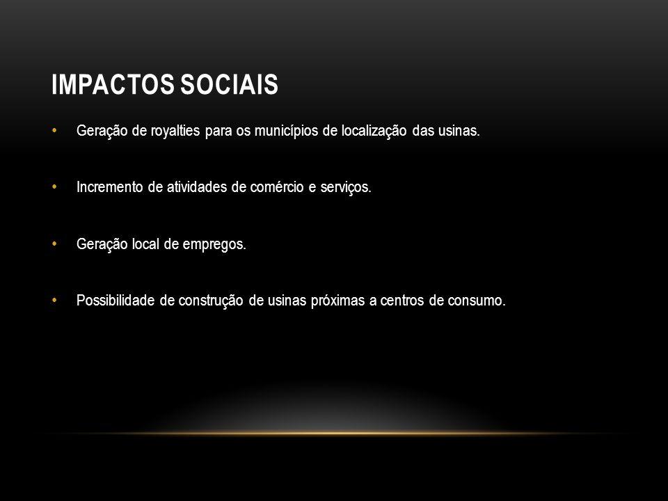 Impactos SOCIAIS Geração de royalties para os municípios de localização das usinas. Incremento de atividades de comércio e serviços.