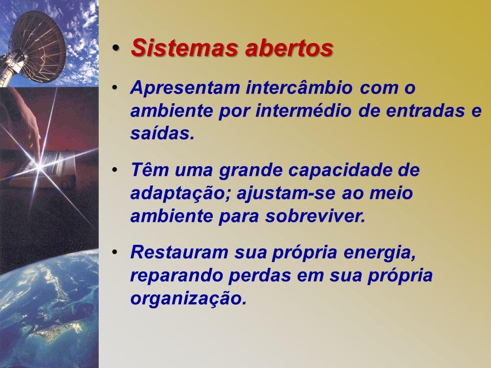 Sistemas abertos Apresentam intercâmbio com o ambiente por intermédio de entradas e saídas.