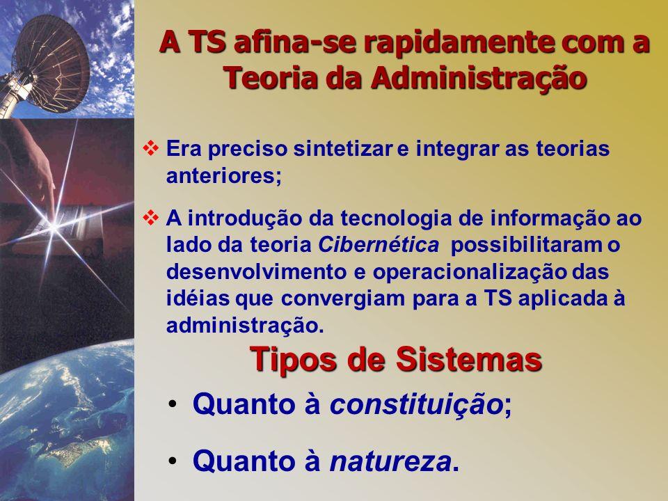 A TS afina-se rapidamente com a Teoria da Administração