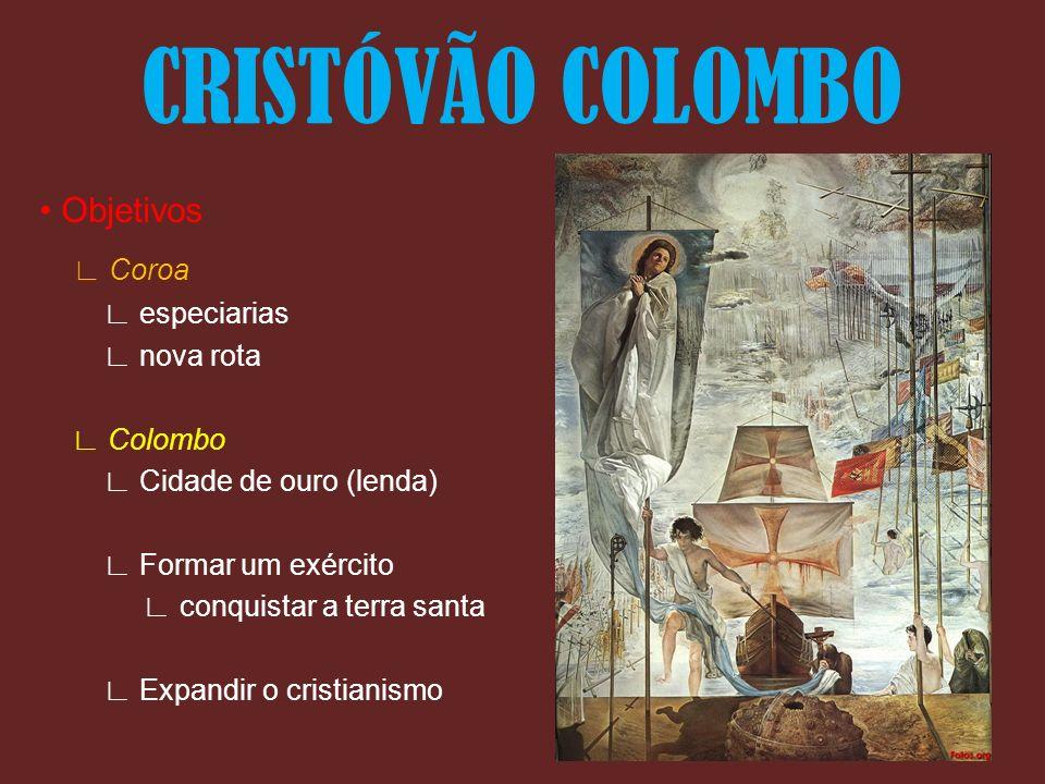 CRISTÓVÃO COLOMBO ∟ Coroa • Objetivos ∟ especiarias ∟ nova rota