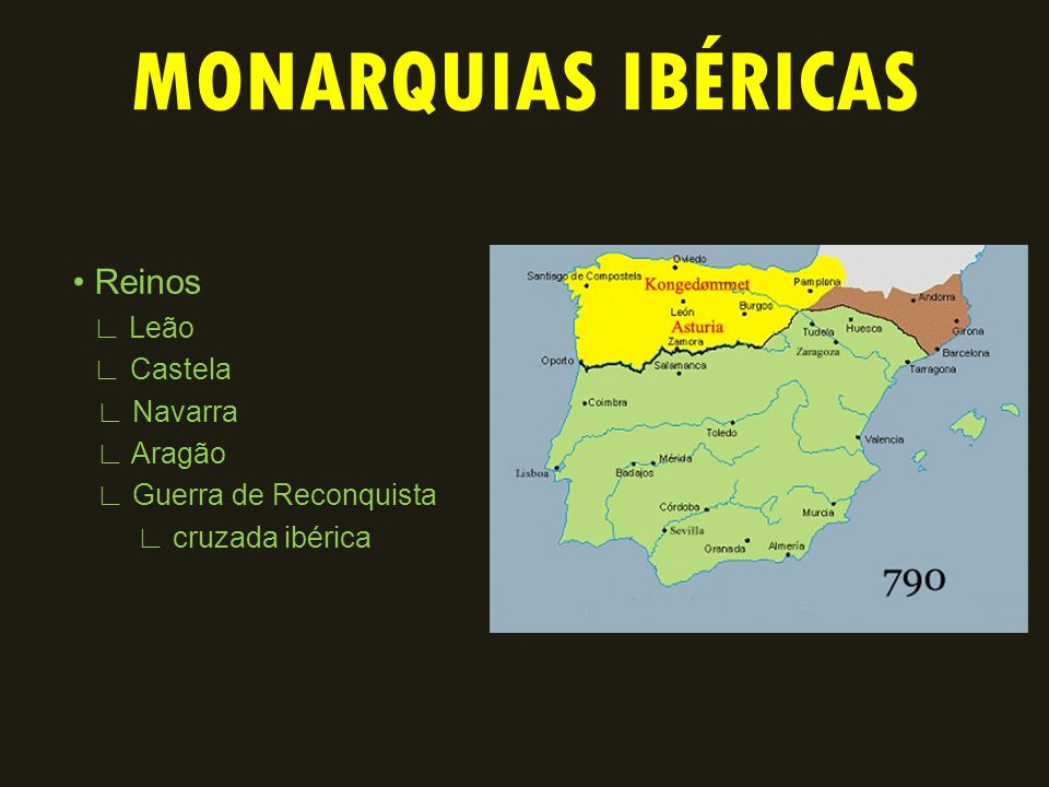 MONARQUIAS IBÉRICAS • Reinos ∟ Leão ∟ Castela ∟ Navarra ∟ Aragão