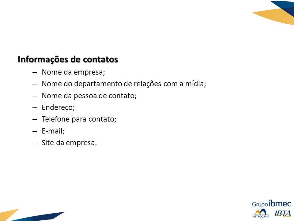 Informações de contatos
