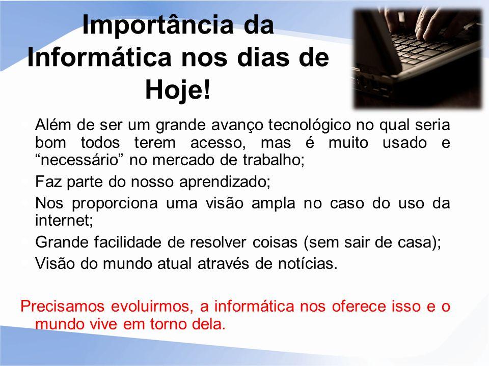 Importância da Informática nos dias de Hoje!